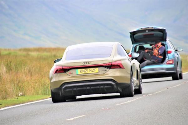 Audi E TRON GT by mountains