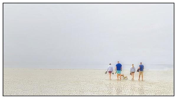 Walking on the beach in the fog by happysnapper
