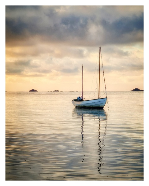 Sailing  boat at sunrise by happysnapper