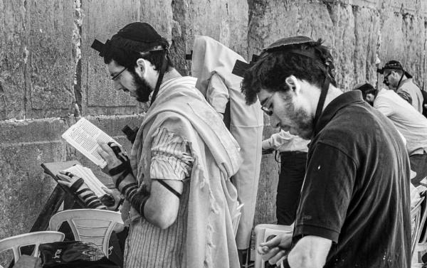 Praying at Western Wall Jerusalem by bobbyl